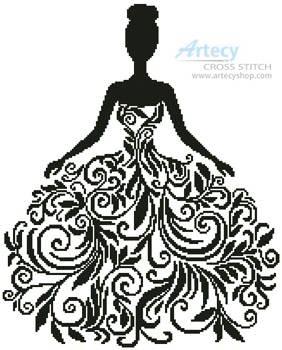 cross stitch pattern Woman Silhouette
