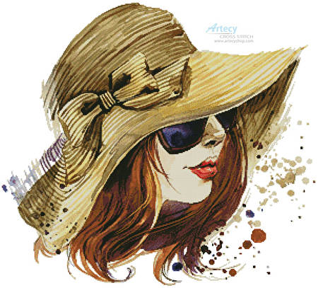 cross stitch pattern Woman in Sun Hat 1
