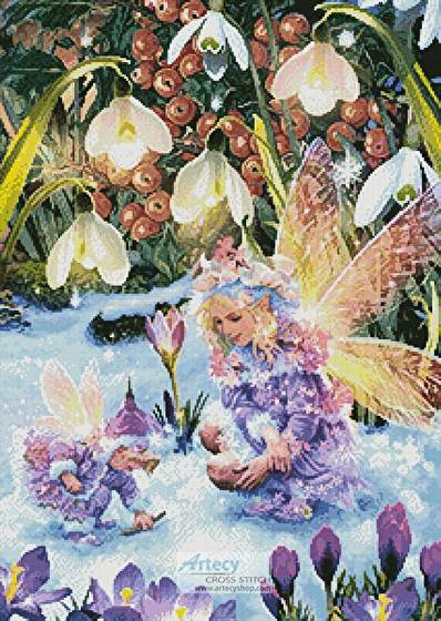 cross stitch pattern Winter Fairies