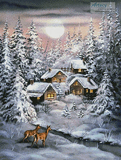 cross stitch pattern Winter Moonlight