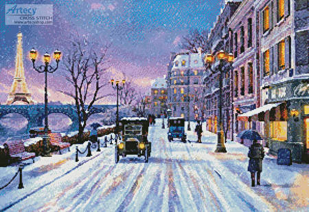 cross stitch pattern Wintertime in Paris