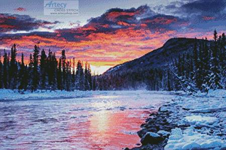 cross stitch pattern Winter Sunset