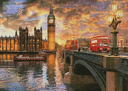 cross stitch pattern Westminster Sunset