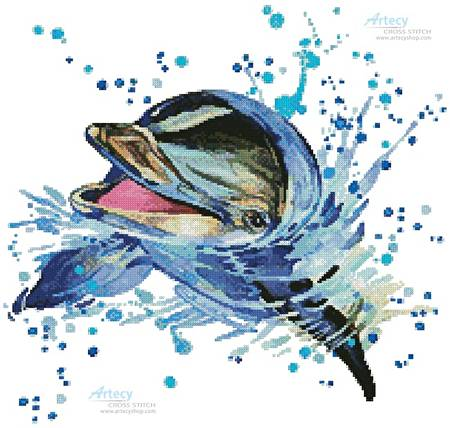 cross stitch pattern Watercolour Dolphin