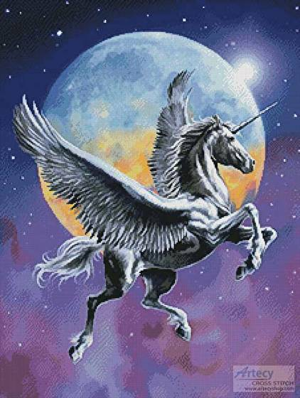 cross stitch pattern Winged Unicorn in Moonlight
