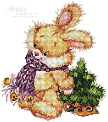 cross stitch pattern Xmas Bunny