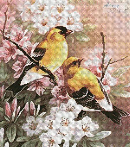 cross stitch pattern Yellow Finches (Crop)