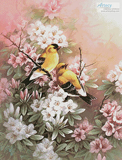 cross stitch pattern Yellow Finches