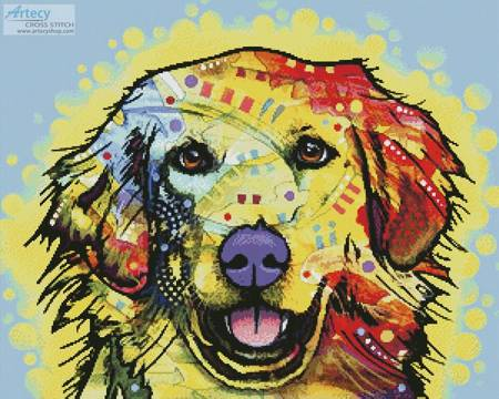 cross stitch pattern Abstract Golden Retriever