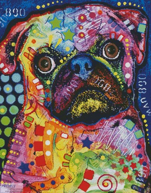 cross stitch pattern Abstract Pug
