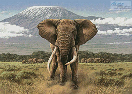 African Giants Cross Stitch Pattern Elephant