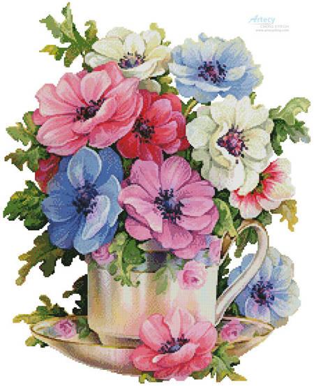 cross stitch pattern Anemone Teacup