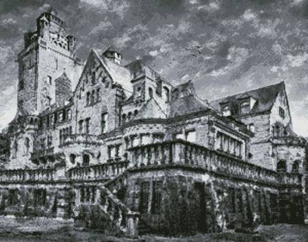 cross stitch pattern Artistic Castle (Black and White)