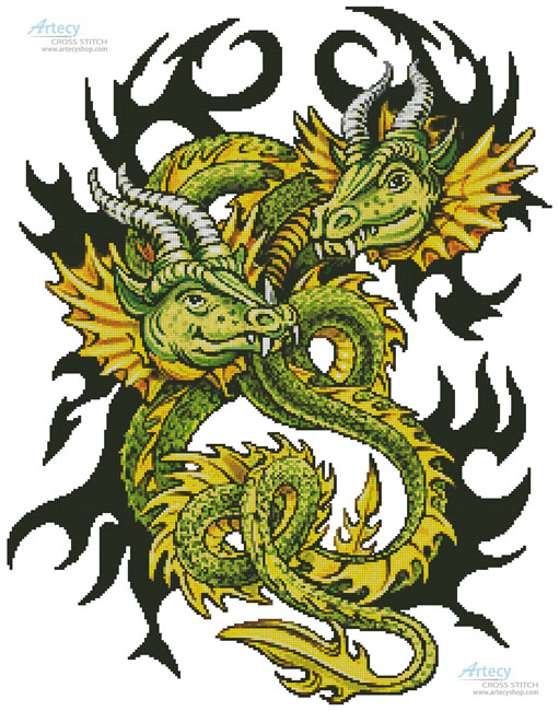 cross stitch pattern Artistic Dragons
