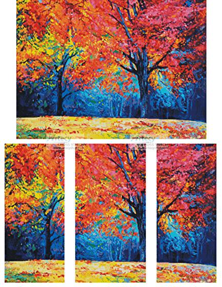 cross stitch pattern Autumn Landscape Abstract