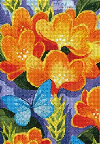 cross stitch pattern Butterfly Blue (Crop)