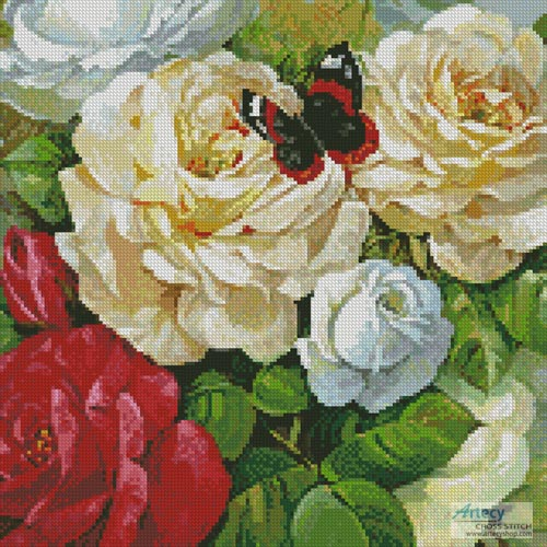 cross stitch pattern Butterfly and Roses (Crop)
