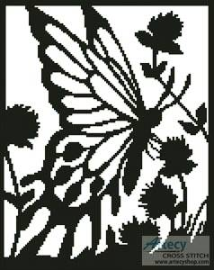 cross stitch pattern Butterfly Silhouette 2