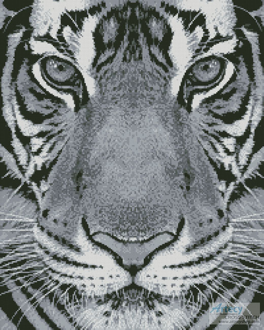 cross stitch pattern Bengal Tiger (Black and White)