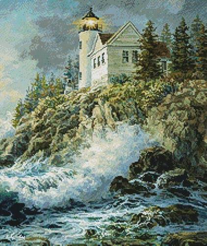 cross stitch pattern Bass Harbor Lighthouse (Crop)