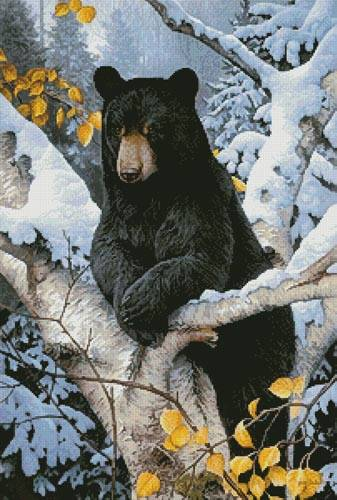 Black Bear Painting Cross Stitch Pattern Bears