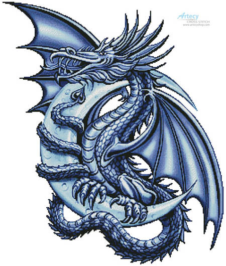 cross stitch pattern Blue Dragon