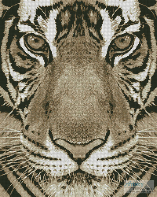 cross stitch pattern Bengal Tiger (Sepia)