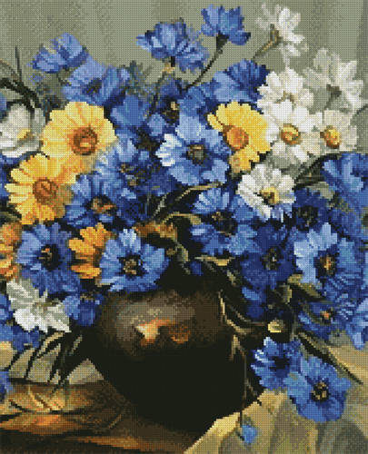 cross stitch pattern Bouquet of Blue (Crop)