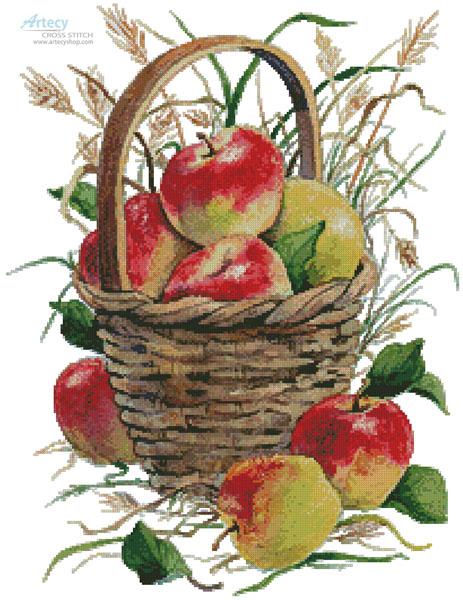 cross stitch pattern Basket of Apples