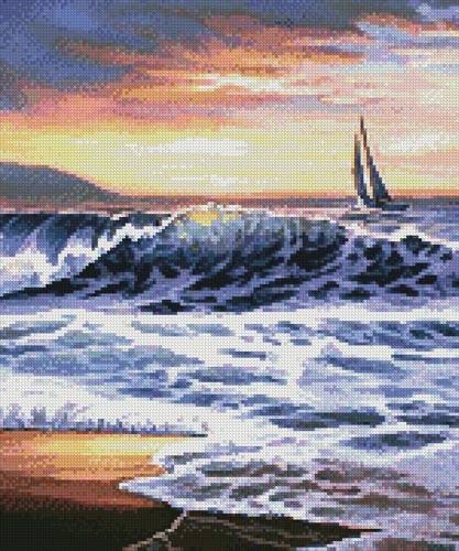 cross stitch pattern Beach Sunset Lighthouse (Crop)