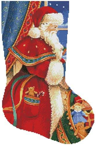 cross stitch pattern Christmas Delivery Stocking (Right)