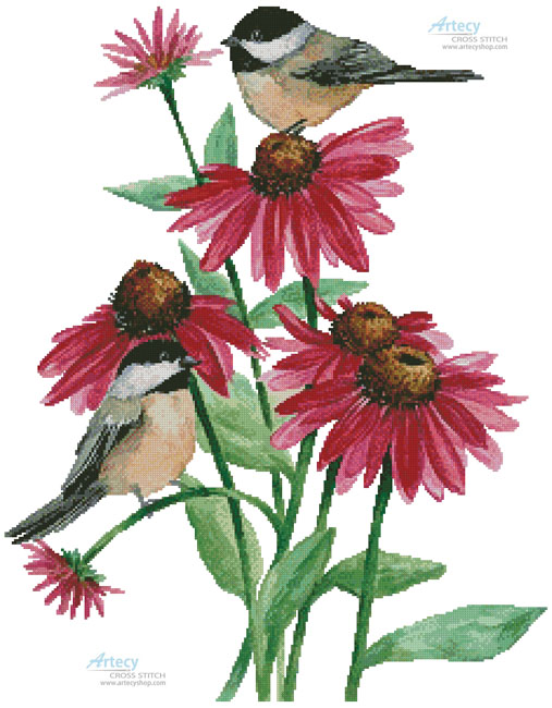 cross stitch pattern Chickadees on Coneflowers