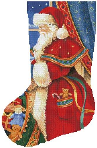 cross stitch pattern Christmas Delivery Stocking (Left)