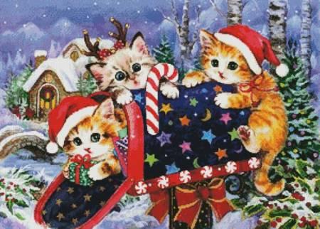 cross stitch pattern Christmas Mailbox
