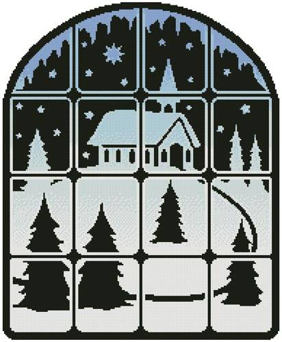 cross stitch pattern Christmas Window