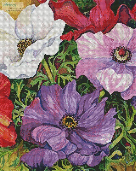 cross stitch pattern Colourful Anemones (Crop)
