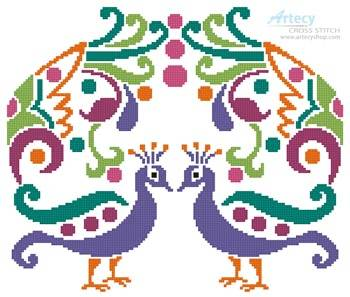 cross stitch pattern Colourful Peacocks