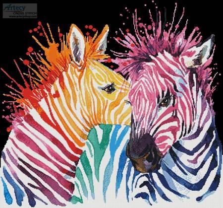 cross stitch pattern Colouful Zebras (Black Background)