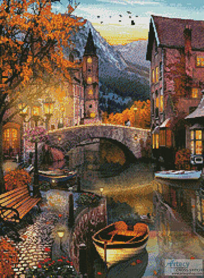 cross stitch pattern Canal Home (Crop)