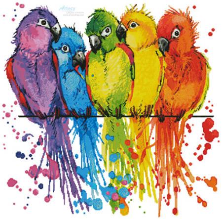 cross stitch pattern Colourful Birds