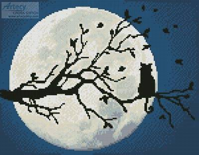 cross stitch pattern Cat in the Moonlight