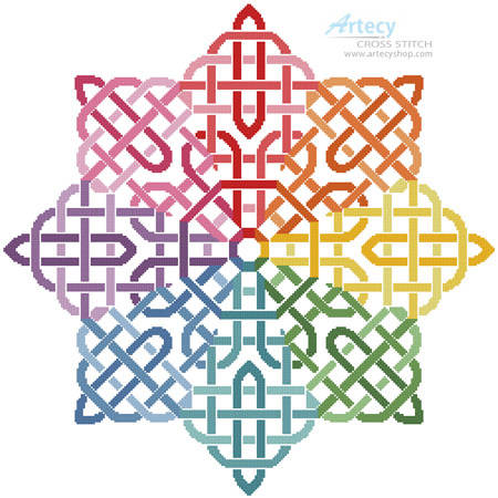 cross stitch pattern Celtic Rainbow Star
