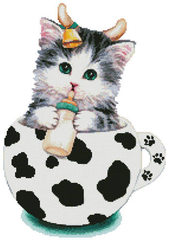 cross stitch pattern Cow Kitty Cup