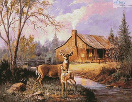 cross stitch pattern Deer Near the Cabin