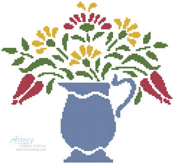 cross stitch pattern Flower Pitcher