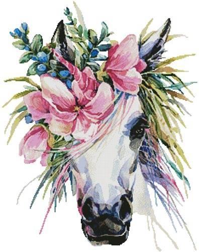 cross stitch pattern Floral Unicorn