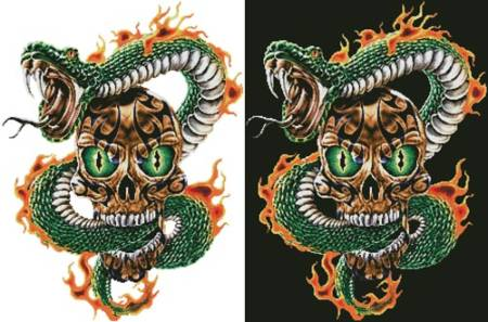 cross stitch pattern Fire Snake and Skull