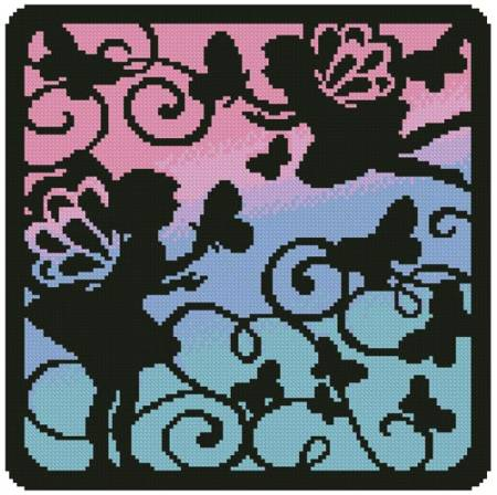 cross stitch pattern Fairy Silhouette Square 5