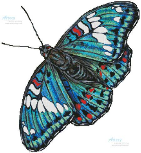 cross stitch pattern Gaudy Baron Butterfly (No Background)