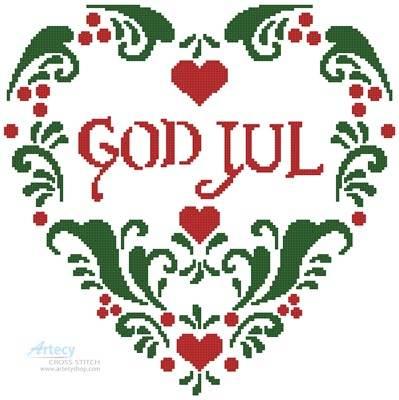 cross stitch pattern God Jul